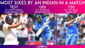 rohit sharma hitting most sixes by an indian in a match in all formats