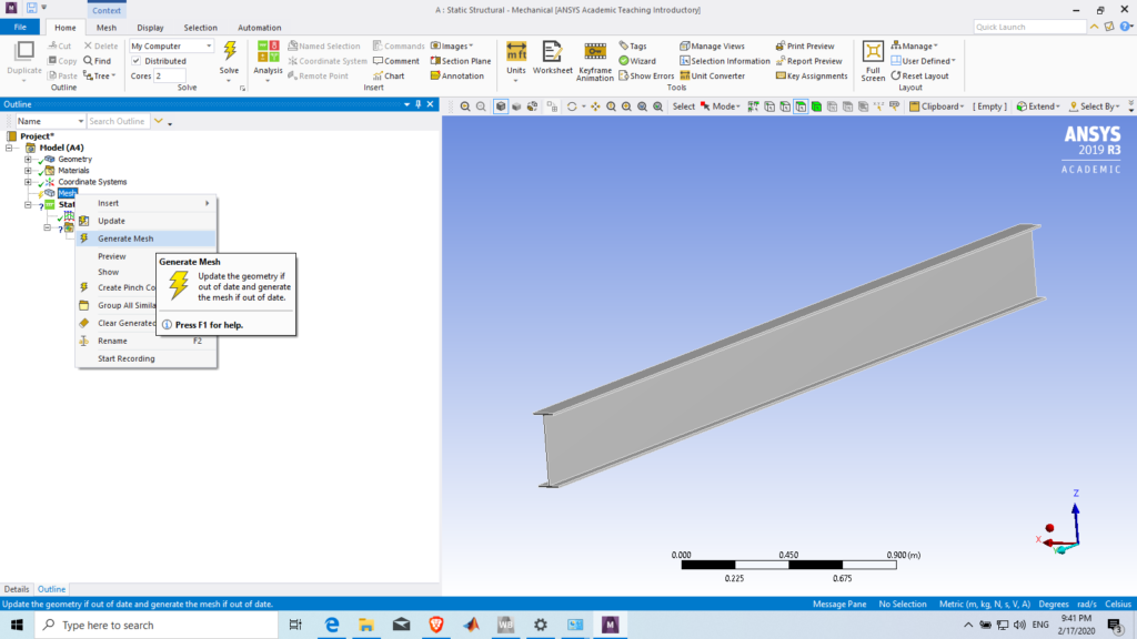 Generating mesh in Ansys